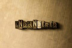 BEDREIGD - close-up van grungy wijnoogst gezet woord op metaalachtergrond stock illustratie