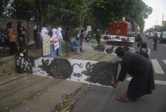BEDREIGING VAN DE DE CORRUPTIEoorlog VAN INDONESIË DE ANTI Stock Afbeelding