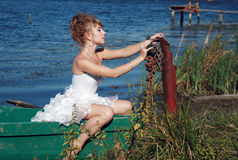 Bedridden bride Stock Images
