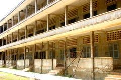 Bedrieglijke kalmte, de Gevangenis van Tuol Sleng, Kambodja Royalty-vrije Stock Fotografie