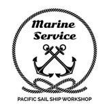 Bedrijf Logo Design voor Marine Service Stock Afbeeldingen