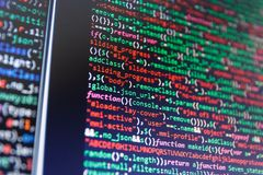 IT Bedrijf Programmeur Developer Screen Software broncode stock fotografie