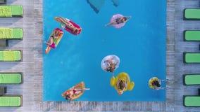 Bedrijf van mooie vrouwenvrienden in badpak die op Opblaasbare ringen en matras bij pool in duur drijven stock footage
