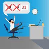 Bedrijfpersoneel gelukkig op de laatste dag van de maand vector illustratie