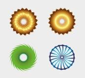 Bedrijfs abstract die symboolmalplaatje met cirkel om pictogram wordt geplaatst Ontworpen voor om het even welk type van zaken Stock Foto's