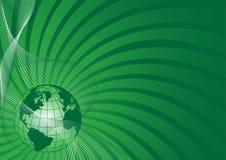 Bedrijfs achtergrond met groene wereldbol Royalty-vrije Stock Foto's
