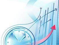 Bedrijfs achtergrond met klok Stock Foto