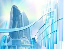 Bedrijfs achtergrond met moderne stadsgebouwen Stock Afbeeldingen