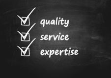 Bedrijfs achtergrondconcept voor kwaliteit, de dienst en deskundigheid stock foto's