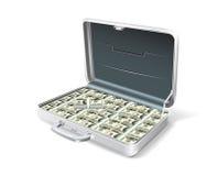 Bedrijfs aktentas met het geld. Royalty-vrije Stock Afbeeldingen
