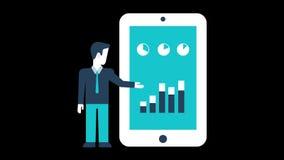 Bedrijfs Analytische Grafiek bij de Mobiele Telefoonanimatie de Vectorlijn van de Motiegrafiek stock illustratie