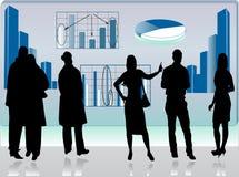 Bedrijfs beeld met mensensilhouetten Royalty-vrije Stock Afbeelding