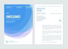 Bedrijfs blauwe brochure, vlieger, de lay-outmalplaatje van het boekjesontwerp Vector illustratie royalty-vrije stock afbeelding