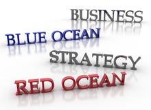 Bedrijfs blauwe oceaan rode oceaanstrategie Stock Foto's