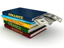 Bedrijfs boeken met geld Stock Foto's