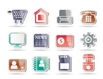 Bedrijfs, bureau en websitepictogrammen Stock Foto's
