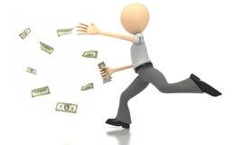 Bedrijfs cijfer dat geld achtervolgt Stock Afbeeldingen