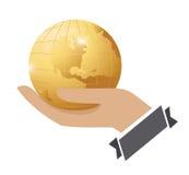 Bedrijfs communicatie mondiaal net op handconcept Stock Foto