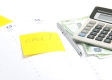 Bedrijfs concept. Agenda, calculator, post-it. Stock Afbeelding