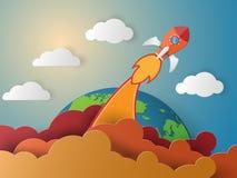 Bedrijfs concept raket die op de lucht en orb vliegen vector illustratie