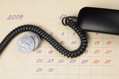 Bedrijfs concept: tijd, geld, mededeling Royalty-vrije Stock Afbeelding