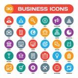 30 bedrijfs creatieve vectorpictogrammen in vlakke stijl voor materiële ontwerpprojecten Bedrijfs vector geplaatste pictogrammen  royalty-vrije illustratie