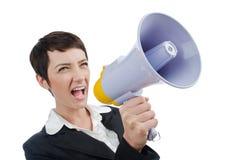 Bedrijfs dame die aan luidspreker gilt Royalty-vrije Stock Afbeeldingen