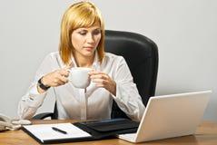 Bedrijfs Dame met Laptop Stock Foto's