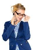 Bedrijfs dame met mobiel Stock Afbeeldingen