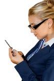 Bedrijfs dame met mobiel Stock Foto's