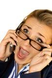 Bedrijfs dame met mobiel Stock Afbeelding