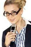 Bedrijfs dame met mobiel Royalty-vrije Stock Afbeeldingen