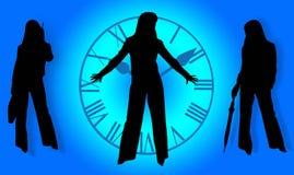 Bedrijfs dames en tijd Stock Afbeelding