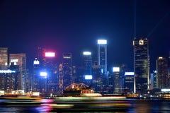 Bedrijfs de bouwlicht in nacht, de haven 2016 van Hongkong Victoria Stock Afbeelding