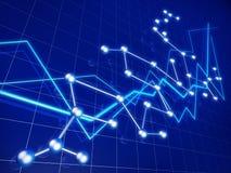 Bedrijfs de financieel grafiekgroei en netwerk Royalty-vrije Stock Afbeelding