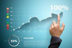 Bedrijfs de Groeiaanraking de analyserende financiële grafieken royalty-vrije stock foto's