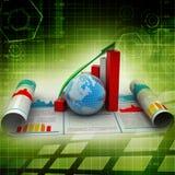 Bedrijfs de groeigrafiek en bol Royalty-vrije Stock Foto's