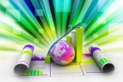 Bedrijfs de groeigrafiek en bol Royalty-vrije Stock Afbeeldingen