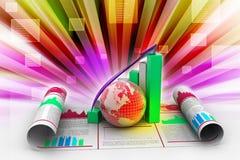 Bedrijfs de groeigrafiek en bol Stock Foto