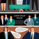Bedrijfs de man en de vrouw spreken, reeks banners vector illustratie