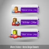 Bedrijfs de winterstickers met giften Stock Afbeelding