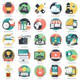 Bedrijfs die, technologie en financiënpictogram voor websites en mobiele toepassingen en de diensten wordt geplaatst Vlakke vecto vector illustratie