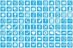 Bedrijfs, elektronische handel, Web en het winkelen pictogrammen die in moderne stijl worden geplaatst Stock Foto's