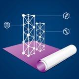 Bedrijfs en bouwgrafiek op een blauwdruk Royalty-vrije Stock Afbeelding