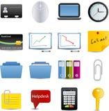 Bedrijfs en bureau geplaatste pictogrammen Stock Afbeelding