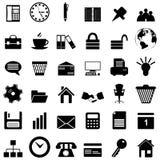 Bedrijfs en bureau geplaatste pictogrammen Stock Foto's