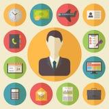 Bedrijfs en bureau vector geplaatste pictogrammen Stock Afbeeldingen