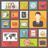 Bedrijfs en bureau vector geplaatste pictogrammen Royalty-vrije Stock Fotografie