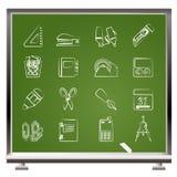 Bedrijfs en bureauobjecten pictogrammen Royalty-vrije Stock Afbeeldingen