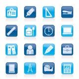 Bedrijfs en bureauobjecten pictogrammen Stock Afbeeldingen